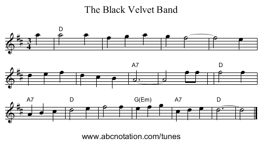 The Black Velvet Band - staff notation