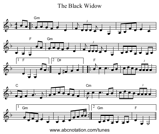 The Black Widow - staff notation