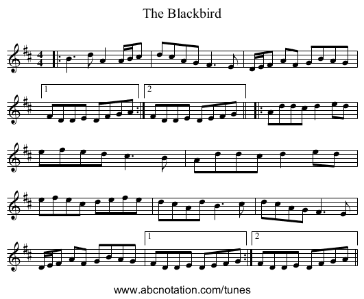 The Blackbird - staff notation