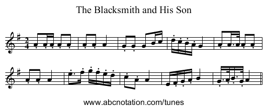 The Blacksmith and His Son - staff notation