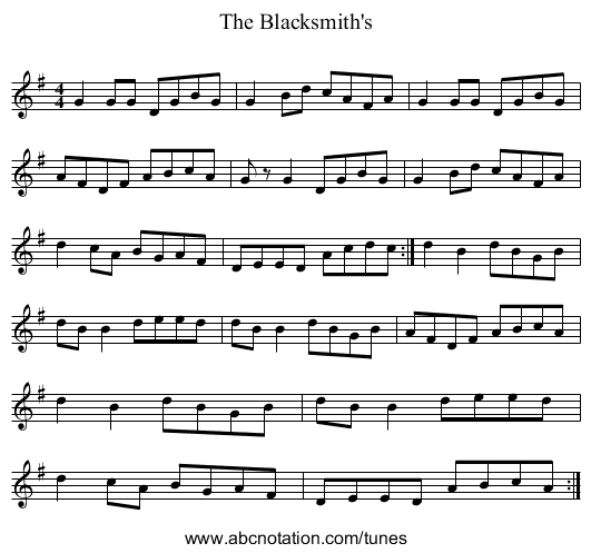 The Blacksmith's - staff notation