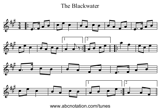 The Blackwater - staff notation