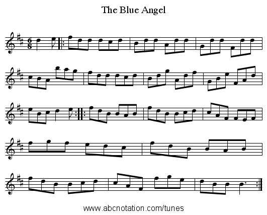 The Blue Angel - staff notation