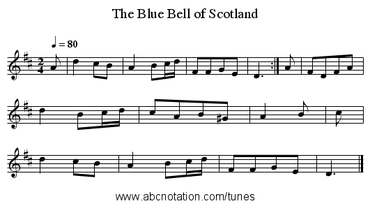 The Blue Bell of Scotland - staff notation