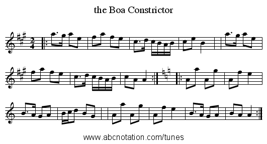 the Boa Constrictor - staff notation