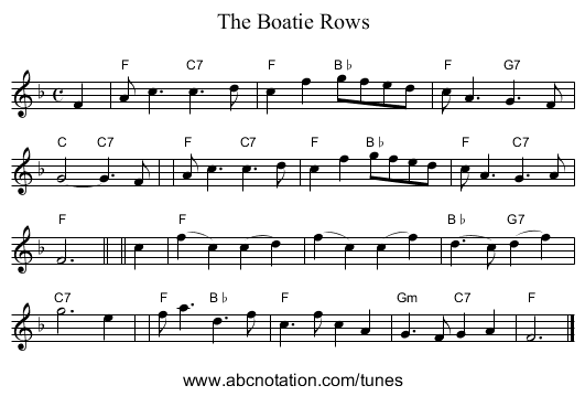 The Boatie Rows - staff notation