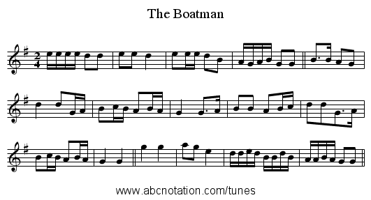 The Boatman - staff notation