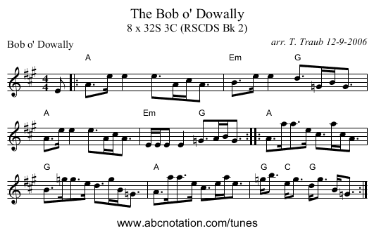 The Bob o' Dowally - staff notation