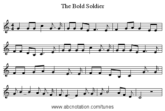 The Bold Soldier - staff notation