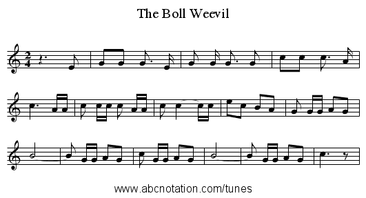 The Boll Weevil - staff notation