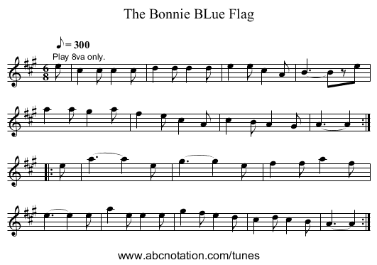 The Bonnie BLue Flag - staff notation