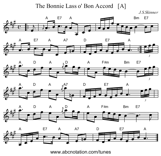 The Bonnie Lass o' Bon Accord - staff notation