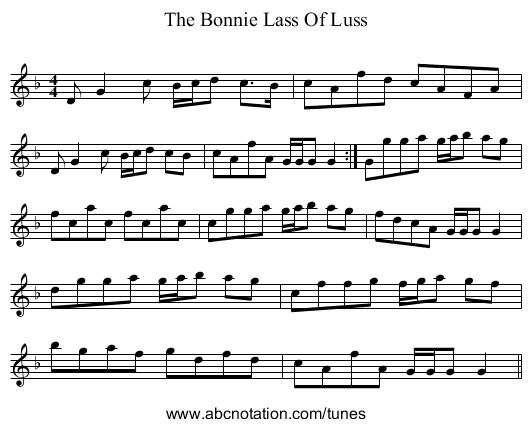 The Bonnie Lass Of Luss - staff notation
