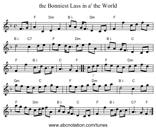 the Bonniest Lass in a' the World - staff notation