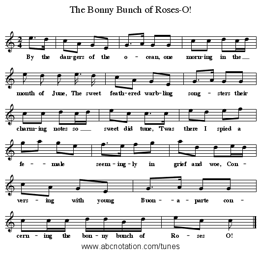 The Bonny Bunch of Roses-O! - staff notation
