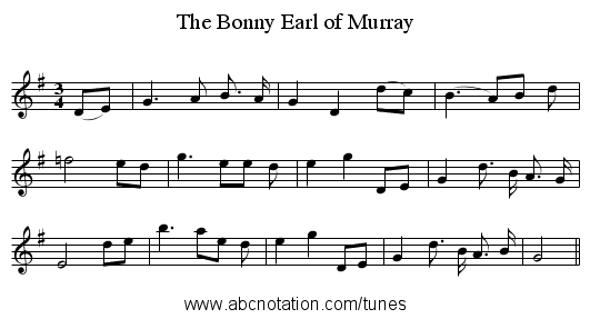 The Bonny Earl of Murray - staff notation