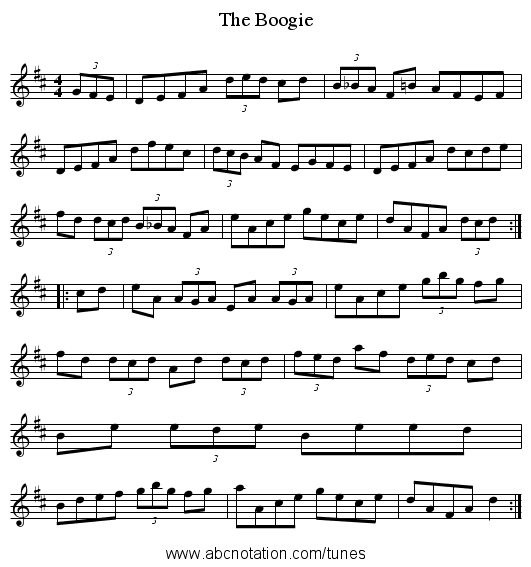 The Boogie - staff notation