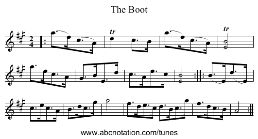 The Boot - staff notation