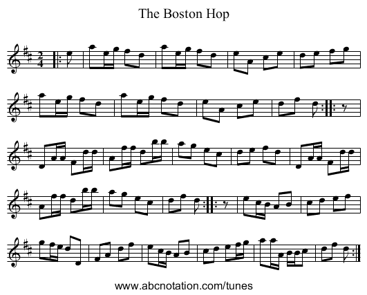 The Boston Hop - staff notation