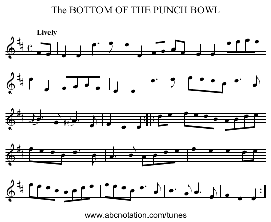 The BOTTOM OF THE PUNCH BOWL - staff notation