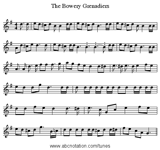 The Bowery Grenadiers - staff notation