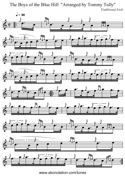 The Boys of the Blue Hill  Arranged by Tommy Tully - staff notation