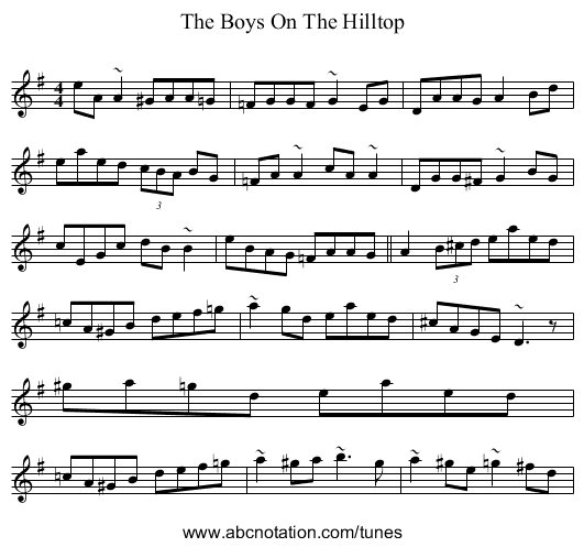 The Boys On The Hilltop - staff notation