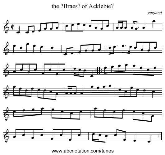 the ?Braes? of Acklebie? - staff notation