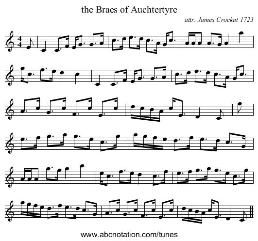 the Braes of Auchtertyre - staff notation