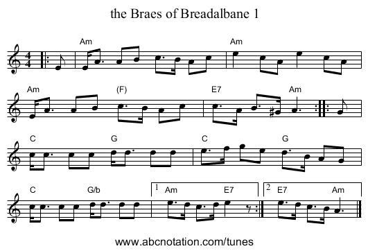 the Braes of Breadalbane 1 - staff notation
