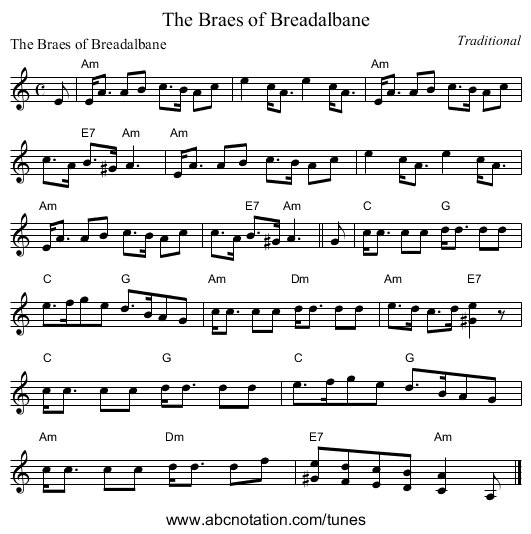 The Braes of Breadalbane - staff notation
