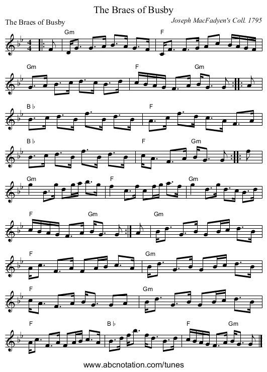 The Braes of Busby - staff notation