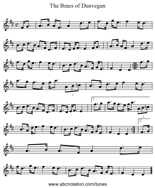 The Braes of Dunvegan - staff notation