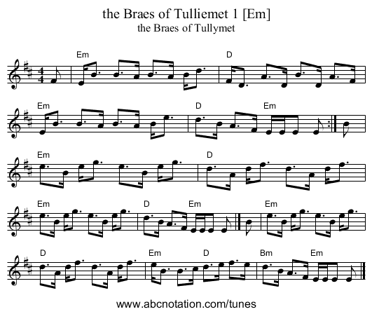 the Braes of Tulliemet 1 [Em] - staff notation
