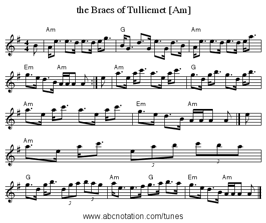 the Braes of Tulliemet [Am] - staff notation