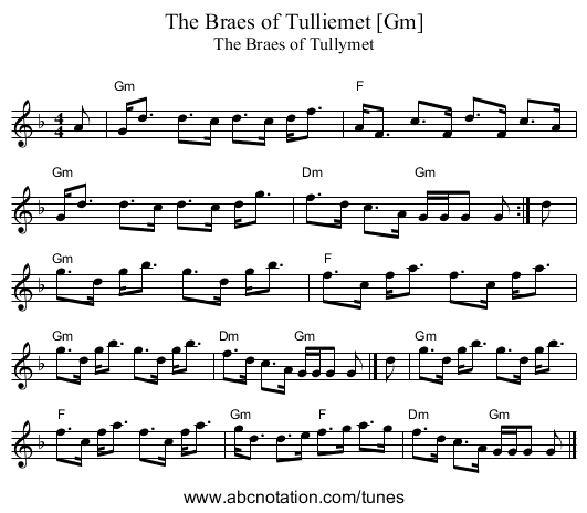 The Braes of Tulliemet [Gm] - staff notation
