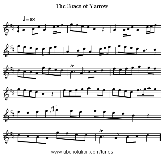 The Braes of Yarrow - staff notation
