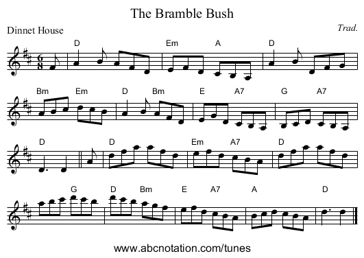 The Bramble Bush - staff notation