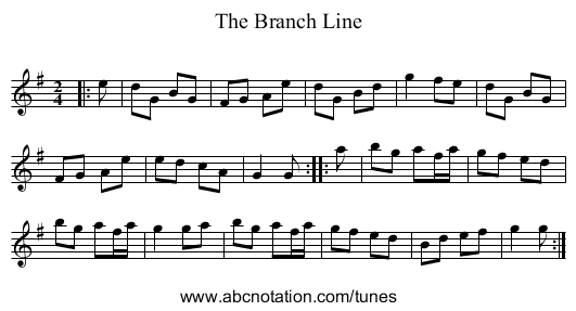 The Branch Line - staff notation