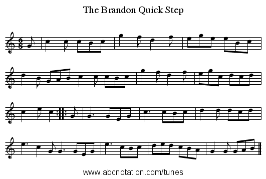The Brandon Quick Step - staff notation