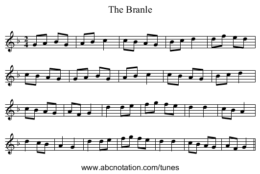 The Branle - staff notation
