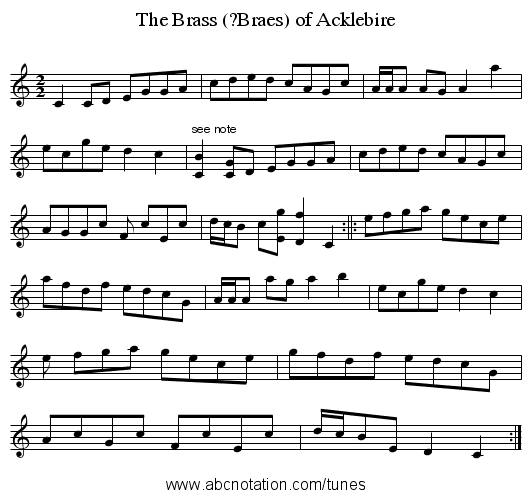 The Brass (?Braes) of Acklebire - staff notation