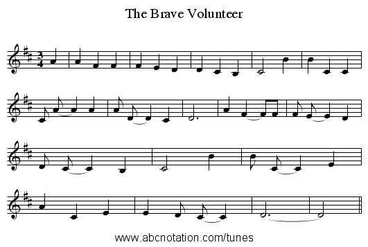 The Brave Volunteer - staff notation