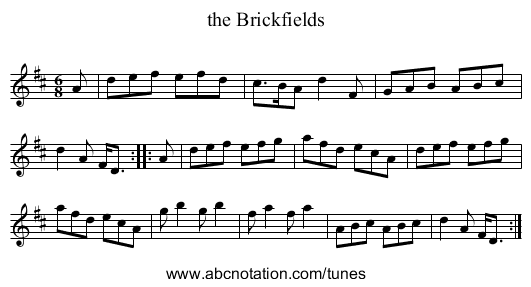 the Brickfields - staff notation