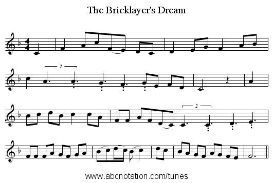 The Bricklayer's Dream - staff notation