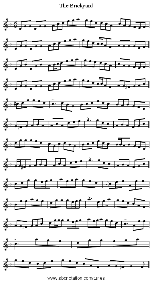 The Brickyard - staff notation