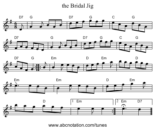 the Bridal Jig - staff notation