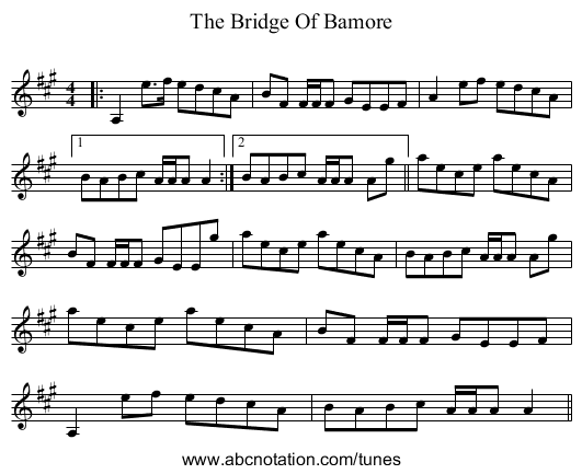 The Bridge Of Bamore - staff notation