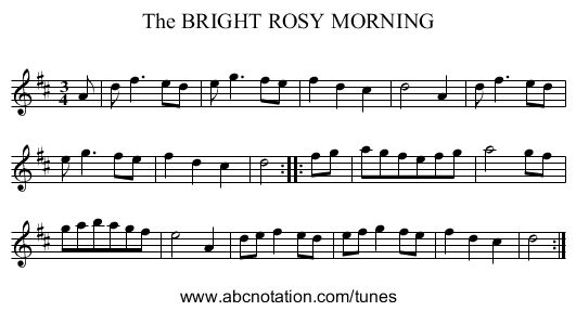 The BRIGHT ROSY MORNING - staff notation