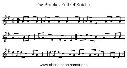 The Britches Full Of Stitches - staff notation